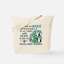 Holiday Penguins Cervical Cancer Tote Bag