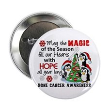 """Holiday Penguins Bone Cancer 2.25"""" Button"""
