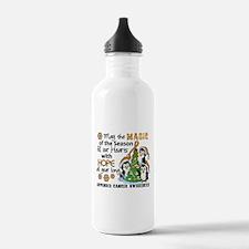 Holiday Penguins Appendix Cancer Water Bottle