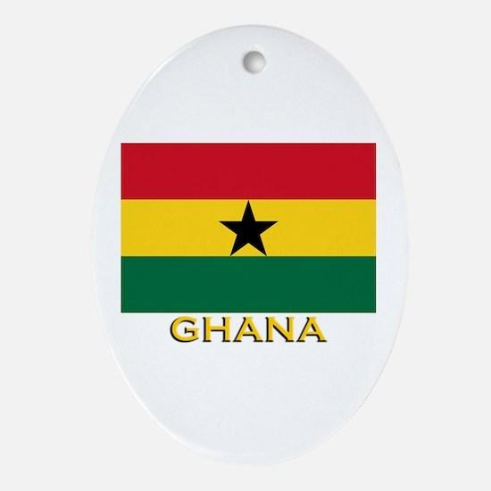Ghana Flag Gear Oval Ornament