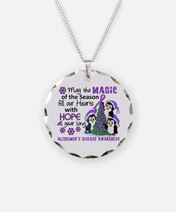 Holiday Penguins Alzheimer's Disease Necklace
