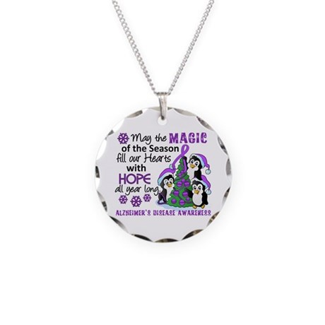 Holiday Penguins Alzheimer's Disease Necklace Circ