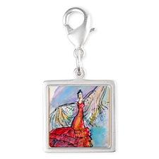 Flamenco dancer, art! Silver Square Charm