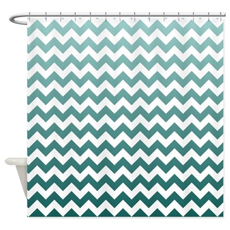 Ombre Teal Chevron Stripes Shower Curtain By LittleBugDesigns
