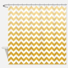 Ombre Mustard Chevron Stripes Shower Curtain
