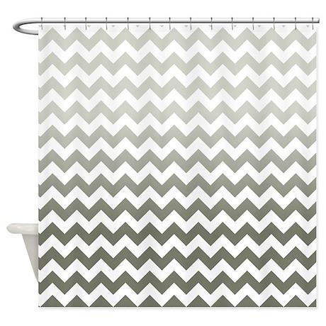 Gray Ombre Chevron Stripes Shower Curtain