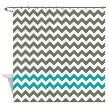 Gray and Turquoise Chevron Stripes Shower Curtain