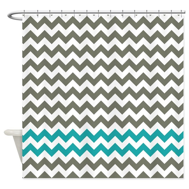 Gray And Turquoise Chevron Stripes Shower Curtain By