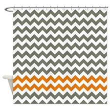 Gray And Orange Chevron Stripes Shower Curtain For