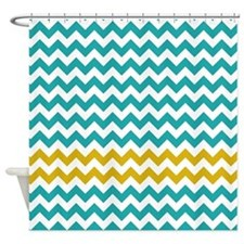 Turquoise Yellow Chevron Stripes Shower Curtain