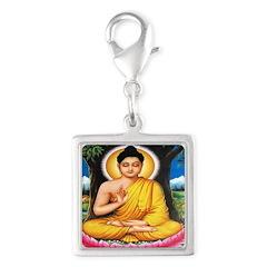 Buddha Silver Square Charm