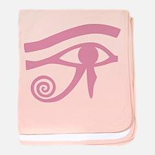 Pink Eye of Horus Hieroglyphic baby blanket
