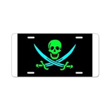Pirate flag e5 Aluminum License Plate