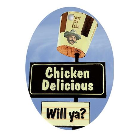 Chicken Delicious Oval Ornament