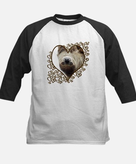 Sloth Swirling Hearts Kids Baseball Jersey