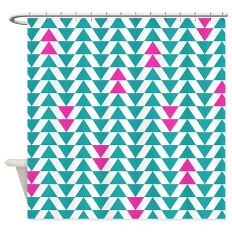 Turquoise And Purple Triangles Shower Curtain By LittleBugDesigns