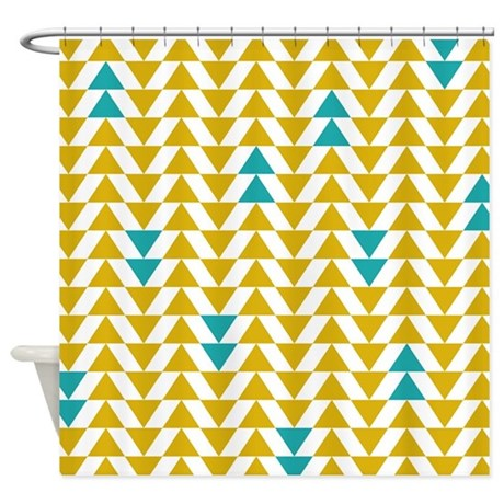 Yellow and turquoise triangles shower curtain by - Turquoise and yellow curtains ...