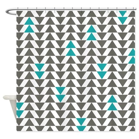 Gray And Turquoise Triangles Shower Curtain By LittleBugDesigns