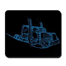 Blue Neon Big Truck Mousepad