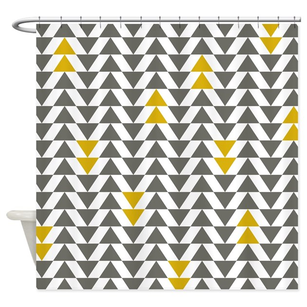 Gray And Yellow Triangles Shower Curtain By LittleBugDesigns