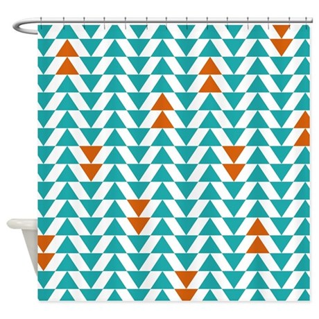 Turquoise And Orange Triangles Shower Curtain By LittleBugDesigns
