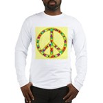 Peace Symbol Bronze Stars on Long Sleeve T-Shirt
