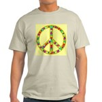 Peace Symbol Bronze Stars on Ash Grey T-Shirt