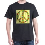 Peace Symbol Bronze Stars on Dark T-Shirt