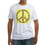 Peace Symbol Bronze Stars on Fitted T-Shirt