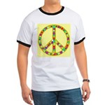 Peace Symbol Bronze Stars on Ringer T