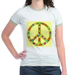 Peace Symbol Bronze Stars on Jr. Ringer T-Shirt