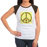 Peace Symbol Bronze Stars on Women's Cap Sleeve T