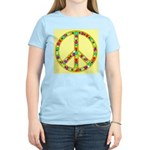 Peace Symbol Bronze Stars on Women's Pink T-Shirt