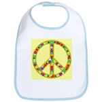 Peace Symbol Bronze Stars on Bib