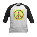 Peace Symbol Bronze Stars on Kids Baseball Jersey