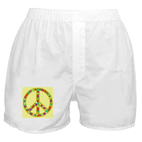 Peace Symbol Bronze Stars on Boxer Shorts