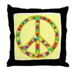 Peace Symbol Bronze Stars on Throw Pillow