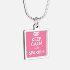 Keep Calm and Sparkle Silver Square Necklace
