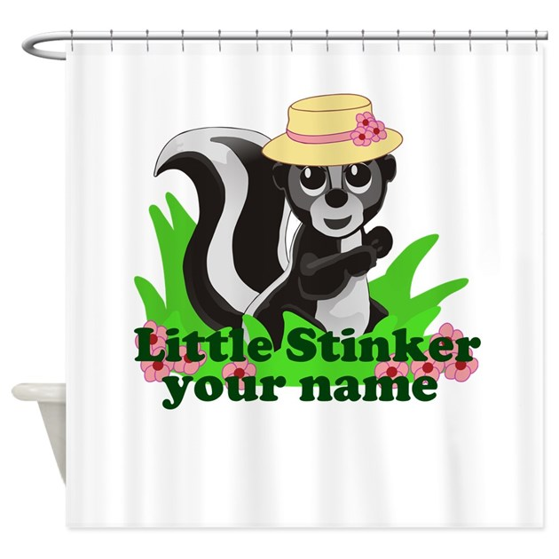 Personalized Little Stinker Girl Shower Curtain By Sunnydaysdesign