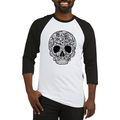 Psychedelic Skull White Baseball Jersey
