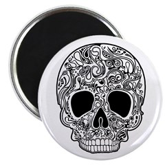 """Psychedelic Skull White 2.25"""" Magnet (100 pac"""