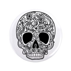 """Psychedelic Skull White 3.5"""" Button"""