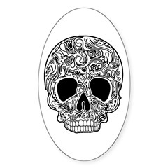 Psychedelic Skull White Decal