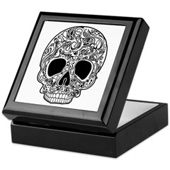 Psychedelic Skull White Keepsake Box