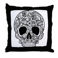 Psychedelic Skull White Throw Pillow