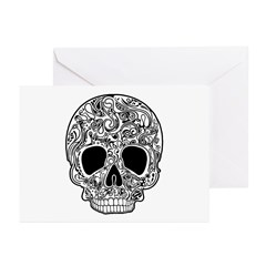 Psychedelic Skull White Greeting Cards (Pk of 10)