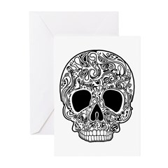Psychedelic Skull White Greeting Cards (Pk of 20)