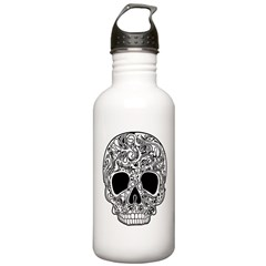 Psychedelic Skull White Water Bottle
