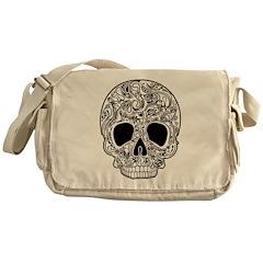 Psychedelic Skull White Messenger Bag