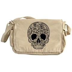 Psychedelic Skull White Messenger Bag